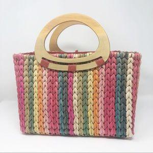 Capelli Strawworld rainbow stripe straw handbag